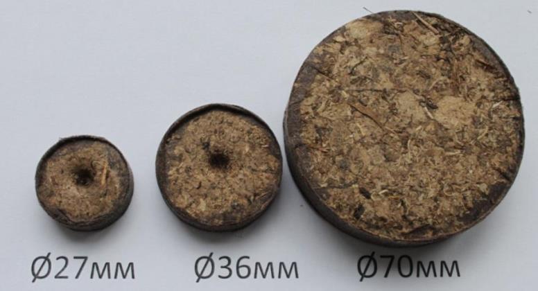 Торфяные таблетки разных размеров