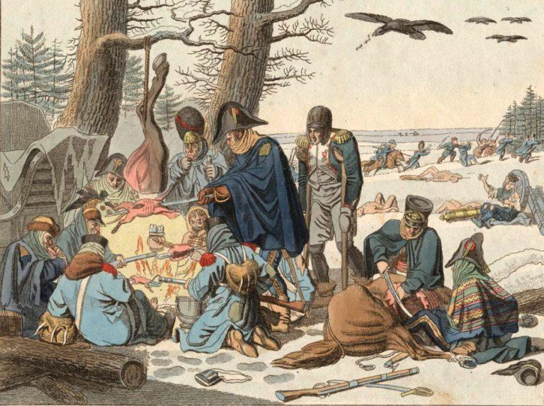 Солдаты армии наполеона ужинают у костра
